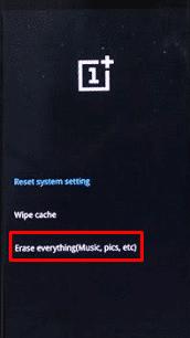 wipe data OnePlus 7t